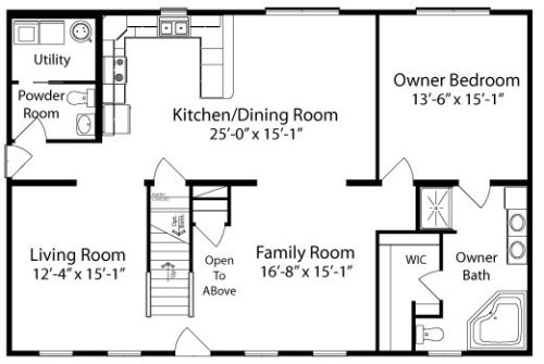 Tyler by all american homes two story floorplan for Two story living room house plans