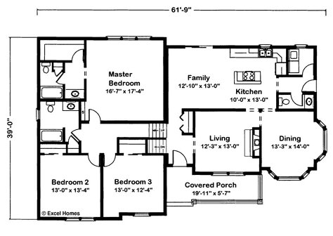 Timber ridge by excel modular homes split level floorplan for Free floor plan template excel