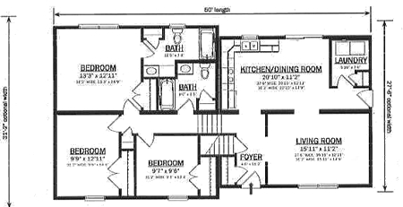 B147032 1 by hallmark homes bi level floorplan for Bi level home designs