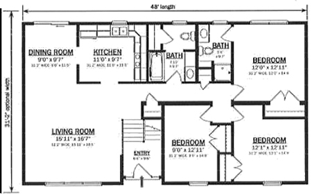 Hallmark Modular Homes B149632 1 on 1 level house floor plans