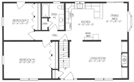C1210212 by Hallmark Homes Cape Cod Floorplan – Floor Plans For 2 Bedroom 2 Bath Homes
