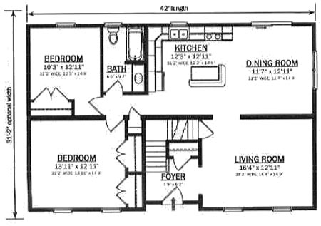 C130921 1 by hallmark homes cape cod floorplan for 1300 sq ft house plans 2 story