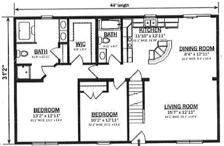 C137122 1 by hallmark homes cape cod floorplan for Cape cod house plans open floor plan