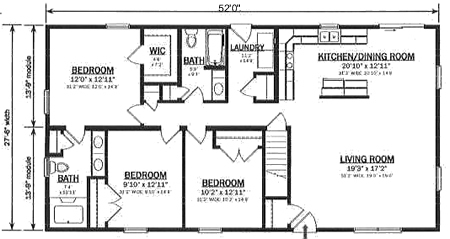 Hallmark Modular Homes R143032 2 on 1 bedroom house plans open floor plan