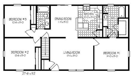 The R143032-5 Ranch floor plan by Hallmark Homes is a simple, space  efficient three bedroom, two bath home. Its 1400 square feet is used in the  most ...