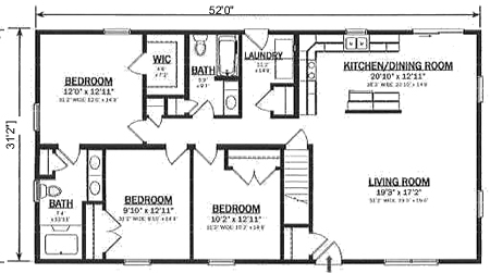 R162132 1 by hallmark homes ranch floorplan for Open ranch house plans