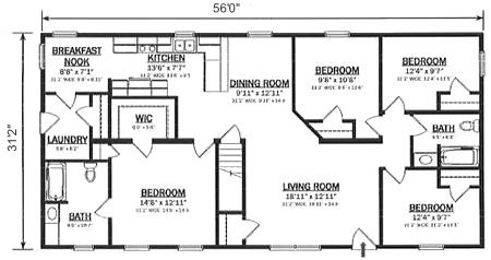 R174742 1 by hallmark homes ranch floorplan for Hallmark homes floor plans