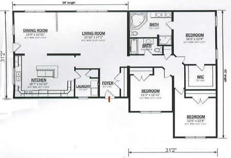 R230132 1 by hallmark homes ranch floorplan for Hallmark homes floor plans