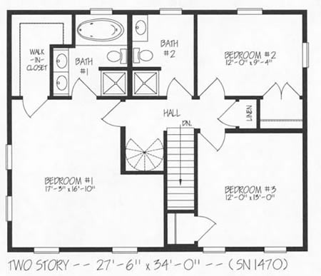 T187033 3 By Hallmark Homes Two Story Floorplan