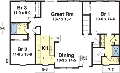 this is a simple floor plan that is reminiscent of the old 70s and 80s style ranch homes it is an easy and simple plan to