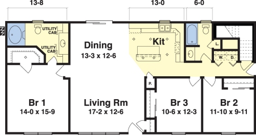Ashley by simplex modular homes ranch floorplan for 3 bedroom 2 bath ranch floor plans