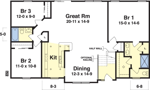 Bradley by simplex modular homes ranch floorplan for Very simple home design