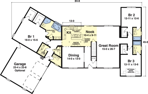 Parkridge by simplex modular homes ranch floorplan for Modern modular homes floor plans
