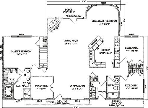 Alexandria iii by wardcraft homes ranch floorplan for Open floor plan ranch