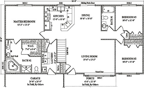 Atlanta by wardcraft homes ranch floorplan for Three bedroom ranch floor plans