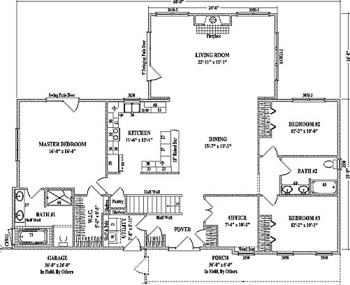 Auburn ii by wardcraft homes ranch floorplan for Big ranch house plans