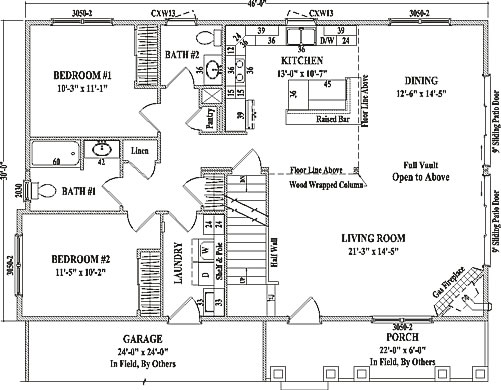 Bakersfield by wardcraft homes two story floorplan for One level living floor plans
