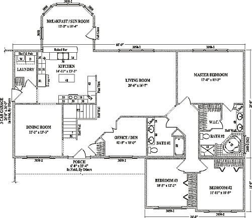 Brighton by wardcraft homes ranch floorplan for Sprawling ranch floor plans