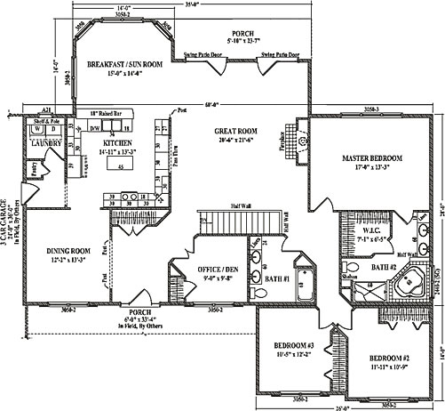 Brighton II by Wardcraft Homes Ranch Floorplan – Prefab House Floor Plans