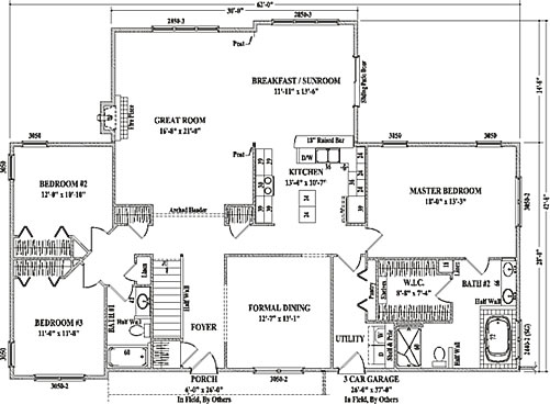 Durham ii by wardcraft homes ranch floorplan for Large ranch house plans