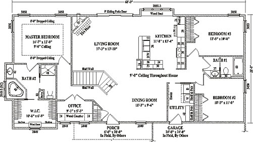 Hamilton by wardcraft homes ranch floorplan for Floor plans for 4 bedroom ranch house