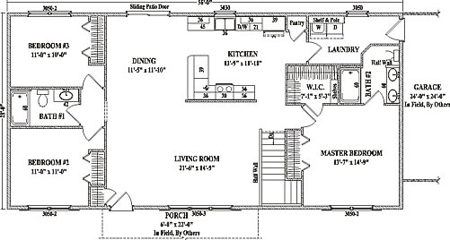 Jamestown III By Wardcraft Homes Ranch Floorplan - Ranch open floor plans