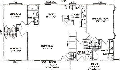 Mankato ii by wardcraft homes ranch floorplan for Colonial floor plans open concept