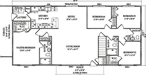 Roosevelt iv by wardcraft homes ranch floorplan for Floor plans for 4 bedroom ranch house