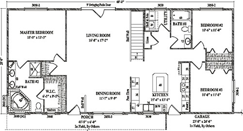 Westchester by wardcraft homes ranch floorplan for 1120 westchester place floor plan