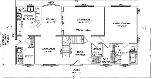 Wheatridge by wardcraft homes two story floorplan for Story and a half floor plans