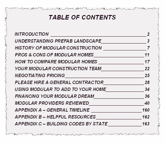 modular homes ebook table of contents